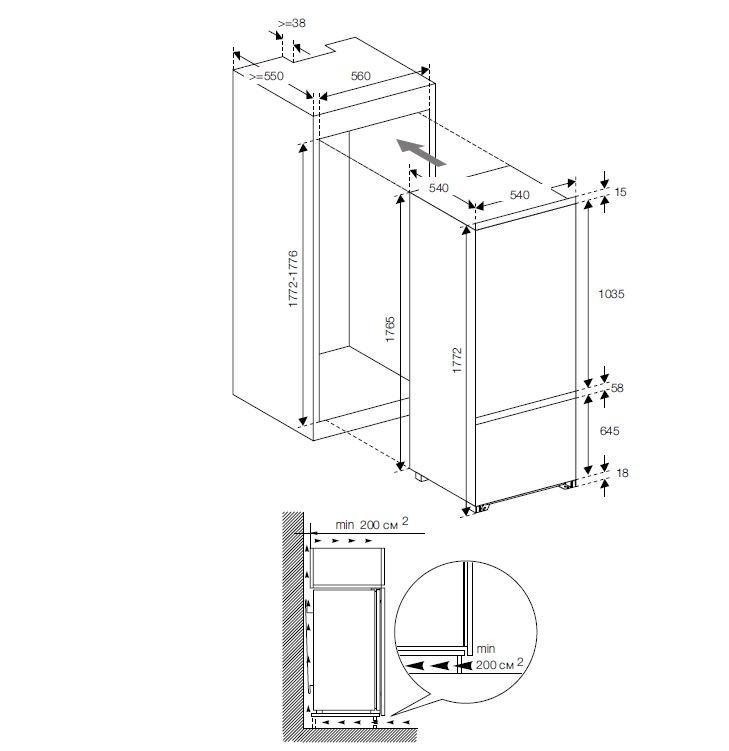 Встраиваемый холодильник GRAUDE IKG 180.0 схема